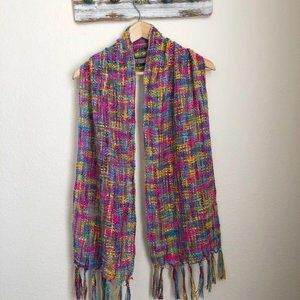 Scarf in Bright Pink, Blue & Yellow with Fringe